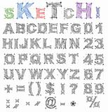Sketch design alphabet. Vector