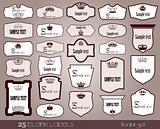 25 blank labels frame. Vector set