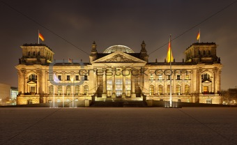 Germany Berlin Parliament at night front view