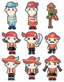 cartoon pirate icon set