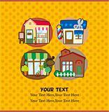 cartoon house/shop card