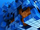blue and orange cubes background