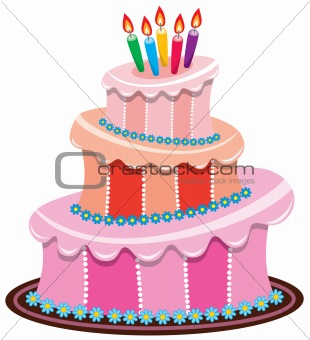 vector big birthday cake with burning candles