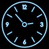 vector blue neon clock