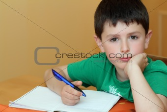 boy doing homework