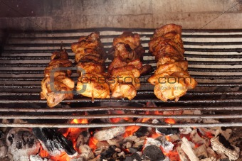 four roasted tasty meat on garden grill