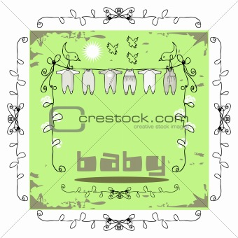 Baby Clothes Line doodley paper card