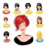 Cartoon avatar various girls faces - one of a series of similar