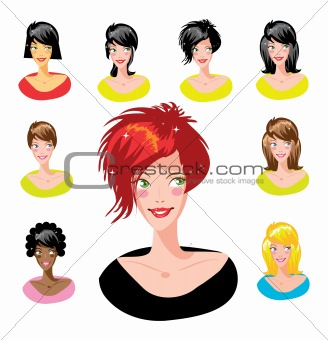image 3826862 cartoon avatar various girls faces one of a series