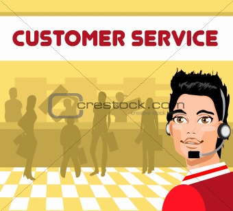 Charming customer service representative with headset on,  group