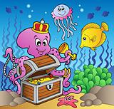 Cartoon octopus on treasure chest