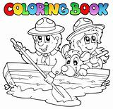 Coloring book with scouts in boat