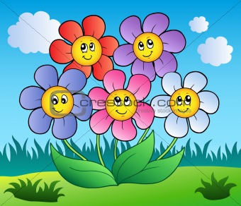 Five cartoon flowers on meadow