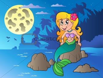 Night seascape with cartoon mermaid