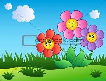 Three cartoon flowers on meadow