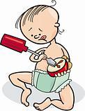 baby boy destroying the clock