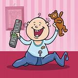 boy with remote control and teddy bear