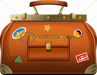 Old-fashioned travel bag (valise)