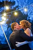 Newlyweds. Romantic Honeymoon dance with lanterns