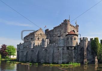 Medieval Gravensteen Castle In Gent