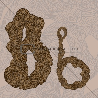 "vector ""B"" letter of oak  tree wooden texture on seamless wooden"