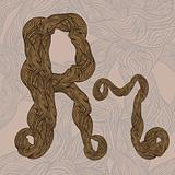"vector ""r"" letter of oak  tree wooden texture on seamless wooden"