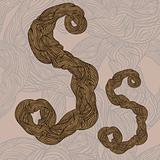 "vector ""s"" letter of oak  tree wooden texture on seamless wooden"