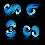 Wave and water icons with reflection vector