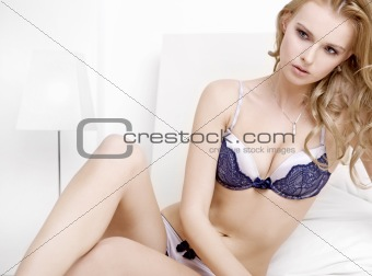 Young sexy blond in sexy lingerie