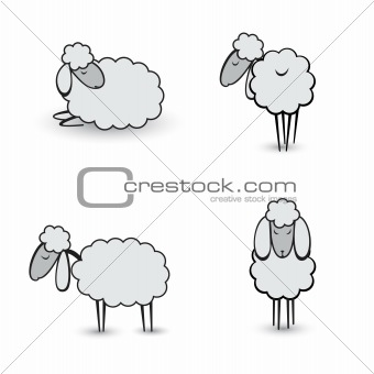 Three abstract gray sheep