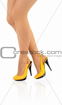 Beautiful ladies legs in yellow high heels