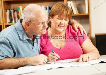 Mature Couple Studies in Library