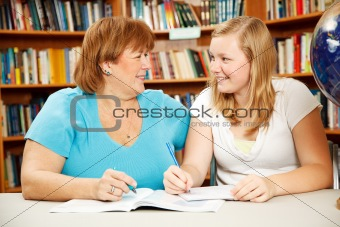 Mother or Teacher with Teen Student
