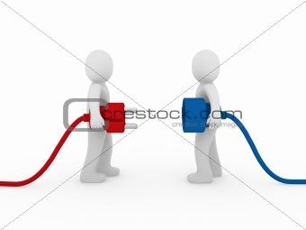 3d men plug  red blue