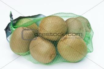 Kiwi fruits in a net bag