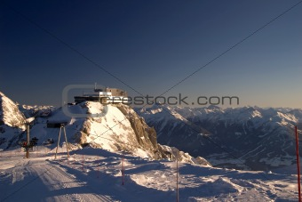 Winter lodge and ski areal, Austria