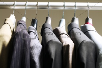 Jackets in wardrobe