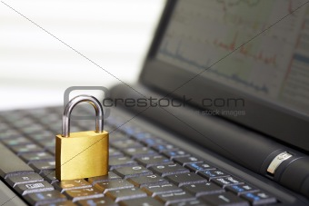 Padlock on keyboard