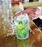 pro barman prepare coctail drink