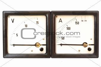 old ammeter and voltmeter