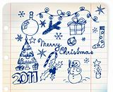 Christmas and New Year doodle illustrations
