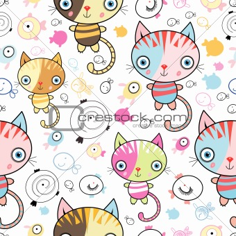 pattern of kittens and fish
