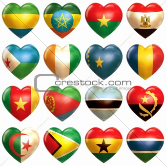 African Hearts set isolated on white