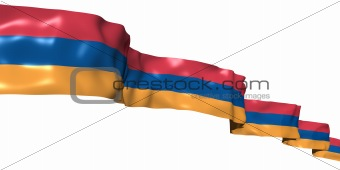 Armenian ribbon flag isolated on white