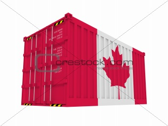 Canadian cargo container isolated on white