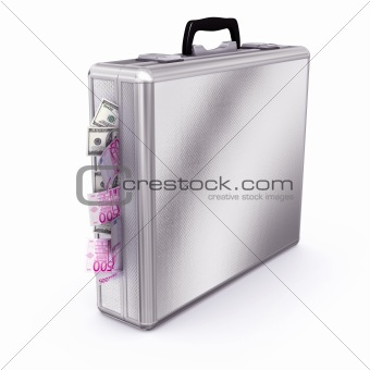 Briefcase full of Dollars and Euros Bills