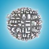 3d City planet urbanization concept