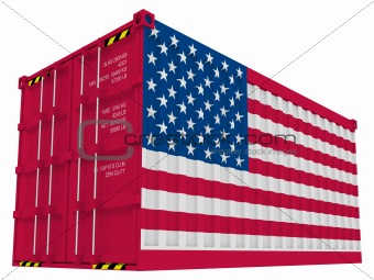 American cargo container isolated on white