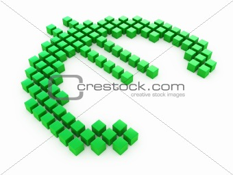 Green Euro sign from cubes isolated on white