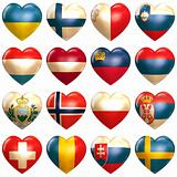 European Hearts set isoalted on white